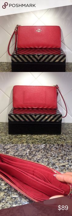 "Authentic Coach Wallet Authentic Coach Wallet in RED, like new condition, no signs of wear. Dimensions are 8"" X 4"" , embossed textured leather, accordion zip style. Matching purse is available in my closet also. Coach Bags Wallets"