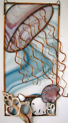 Lucy J Glass  - fused & stained glass. I'm liking this jellyfish with copper wire.