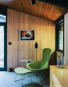 Bird Chair by Harry Bertoia for Knoll in a midcentury Portland home