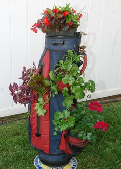 Golf Bag planter... Crocus Corner from Vivian Seibert