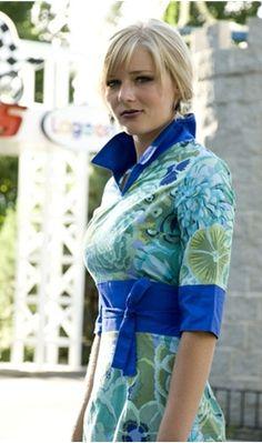 Empire Waist V-Neck Blue Floral Print Dress