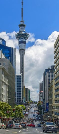 Auckland, New Zealand - Victoria Street with Sky Tower from Kitchener Street