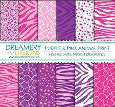 Found a purple set... Purple & Pink Animal Print Digital Papers - INSTANT DOWNLOAD - Printable JPGs - Scrapbook Paper Pack, Birthday, Invitations. $2.99, via Etsy.