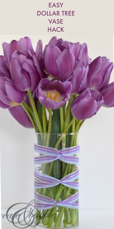 Wrap ribbon around a dollar store for a fun and easy spring decor idea