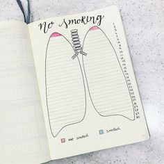 Bullet journal habit tracker, no smoking tracker, unique bullet journal page, creative bullet journal page. Bullet Journal Tracker, Bullet Journal Inspo, Bullet Journal Doodles, Bullet Journal Health, Bullet Journal Headers, Bullet Journal Notebook, Bullet Journal Ideas Pages, Bullet Journal Spread, Bullet Journal Layout