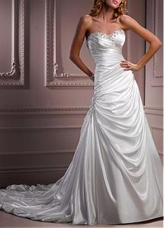 $203 Elegant Exquisite Charmeuse A-line Sweetheart Wedding Dress http://www.dressilyme.com/