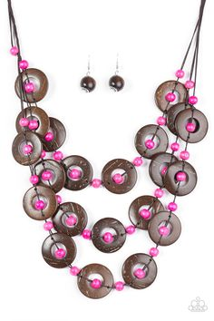 ONLY $5.00. Bora Bora Beauty-Tinted in an iridescent finish, wooden discs link into three summery rows below the collar. Round pink beads are knotted between the wooden accents, adding colorful accents to the seasonal palette.  100% Lead and Nickel Free. Free matching earrings
