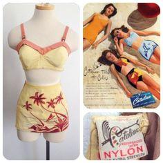 1940s Vintage Catalina 2 piece bikini swimsuit Palm Trees Beach Ocean  Medium 36