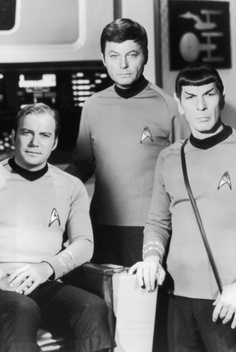Captain Kirk, Dr. McCoy and Mr. Spock (William Shatner, DeForest Kelly and Leonard Nimoy) ~ the original Star Trek television series first aired on 08 September 1966 (46 years ago!) and was cancelled in 1969 after only three years. It has spawned a plethora of spin-offs and movies and even contributed to technological advances in human history!