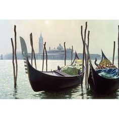 """World Menagerie Gondolas in Venice Photographic Print on Wrapped Canvas Size: 26"""" H x 40"""" W x 1.5"""" D"""