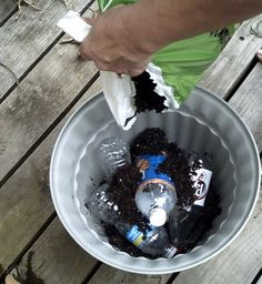 Instead of putting rocks in the bottom of big porch planters, she fill the bottom with sealed empty plastic 20 ounce bottles!  They give the pot the drainage it needs, without adding all that extra weight!