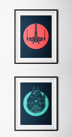 Star Wars framed Prints: Millenium falcon & x wing. Awesome!! Found on: http://kidkhronos.tumblr.com/post/108115413432/nearly-forgot-to-post-this-a-couple-of-star-wars?utm_campaign=SharedPost&utm_medium=Email&utm_source=TumblriOS