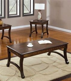 Belita Dark Oak Wood 3Pc Pack Coffee/End Table Set