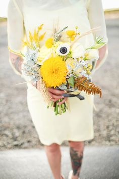 yellow bridesmaid bouquet - photo by Sarah Tamagni Photography