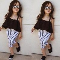 Baby Kids Infants Girls Summer Gauze Dress Tops Clothes Sun-top Black Gift Wish Cute Little Girls Outfits, Dresses Kids Girl, Kids Outfits Girls, Little Girl Fashion, Toddler Fashion, Kids Fashion, Kids Girls, Boy Dress, Fashion Clothes