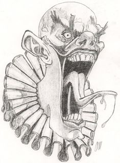 scary halloween drawings | evil clown by cagedspirit