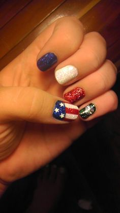 4th of July nails. Painted by. Brittney