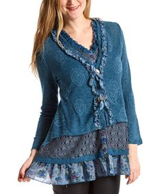 Look what I found on #zulily! Turquoise Crochet-Hem Silk-Blend Cardigan - Women #zulilyfinds