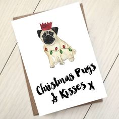 The perfect christmas card to give to a pug lover, from a pug lover!These Christmas cards read 'Christmas pugs and kisses x' and feature a water colour pug tangled up in Christmas lights, wearing a festive hat. Choose a single Christmas card or choose your quantity from the drop down. Need a different quantity? Ask us! These cards are left blank inside for your own message and are provided with brown kraft envelopes. For an extra charge, we can print a generic message inside, along with…