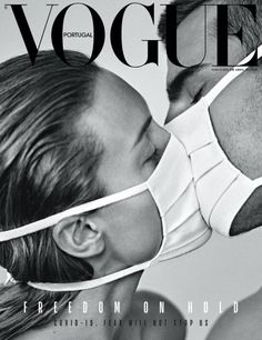 fashion magazine Vogue Portugal Magazine cover is titled quot;Freedom on hold fear will not stop us. Vogue Vintage, Vintage Vogue Covers, Black And White Photo Wall, Black And White Pictures, New York Black And White, Peter Lindbergh, Vogue Portugal, Mode Poster, Gig Poster