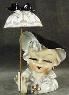 Vintage Sophisticated Lady Head Vase with Umbrella