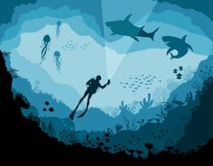Divers and sharks, reef Underwater wildlife vector art illustration Art And Illustration, Landscape Illustration, Graphic Design Illustration, Underwater Drawing, Underwater Photos, Underwater Photography, Film Photography, Street Photography, Landscape Photography