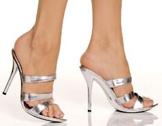 The Highest Heel Shoes Doll-300 Silver Slip-on Triple strap slip-on mules in metallic silver with a chic sole in matching silver and a seductive foot arch supported by the 4.5 inch (11.5 cm) high stiletto heels. The top strap features a tone-to-to http://www.MightGet.com/january-2017-12/the-highest-heel-shoes-doll-300-silver-slip-on.asp