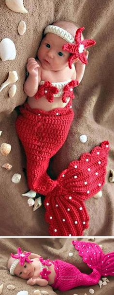 The sweet and pretty crochet knit little mermaid set, very impressive and unique. Starfish headband, starfish tops with pearls on, very vivid and cute. Ruffled fish tail, decorated with pearls, very s