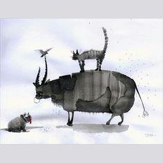 """Эта быстрая почеркушка привела к созданию серии """"Бык и коты"""". This ink sketch led to idea of """"Bull&cats"""" series. Inspiring morningguys!:) #graphics #ink #illustration #drawing #doodling #bull #cat #bird #dog #sketch #art #topcreator #WorldofArt #morning #inspiration #artpro #графика #тушь #персонаж #набросок by talamaskanka"""