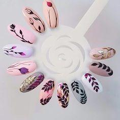Diy Valentine's Nails, Nail Manicure, Cute Nails, Shellac Nails, Metallic Nails, Acrylic Nails, Jasmine Nails, Nagellack Design, Floral Nail Art