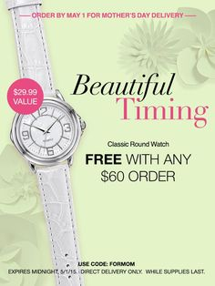 April 27- May 1: Get the Classic Round Watch free with any $60 order at my eStore! #AvonRep