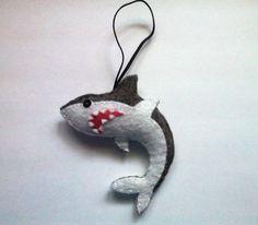 Felt shark ornament Great white shark by TheWoolyGoat on Etsy
