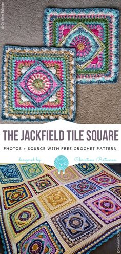 Colorful Crochet Tiles Free Patterns - Free Crochet Patterns The Jackfield Tile Square Free Crochet Pattern Crochet Afghans, Crochet Bedspread Pattern, Crochet Squares Afghan, Crochet Quilt, Crochet Blocks, Afghan Crochet Patterns, Crochet Motif, Knitting Patterns, Crochet Cushions