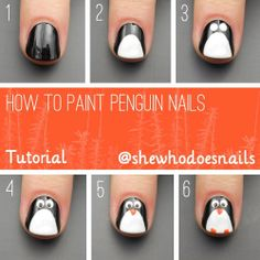 Penguin Nail Art Tutorial. Head over to Pampadour.com for more fun and cute nail art designs! Pampadour.com is a community of beauty bloggers, professionals, brands and beauty enthusiasts! #nails #nailpolish #polish #nailart #naildesign #penguins #cute #fun #pretty #howto #tutorial #beauty