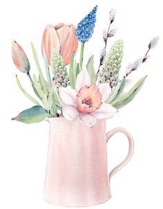 Wreath Watercolor, Watercolor Background, Watercolor Flowers, Watercolor Paintings, Botanical Art, Botanical Illustration, Whimsical Art, Printable Art, Printables