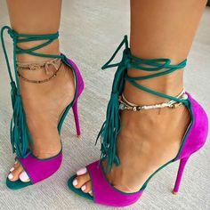 Fashion Inspired Tassel Fringe Sandal Heels