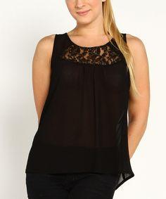 This Marineblu Black Lace Cutout Sleeveless Top by Marineblu is perfect! #zulilyfinds