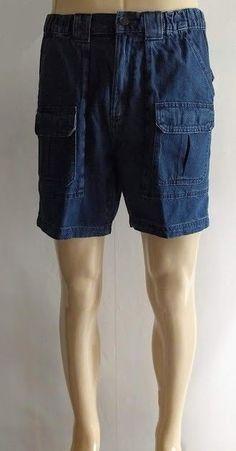 d051621c Blue Denim Cargo Shorts w/ Side Elastic m Mens 34 Waist x 7