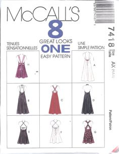 7418 UNCUT McCalls SEWING Pattern Misses Vintage Semi Fitted Evening Dress Gown  #McCalls #SewingPattern
