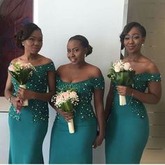 Beaded Long Bridesmaid Dresses Off the Shoulder Bridesmaid Dresses Mermaid Bridesmaid African Bridesmaid Dresses, Mermaid Bridesmaid Dresses, Mermaid Dresses, African Wedding Attire, African Fashion Dresses, African Dress, Wedding Channel, Mode Style, Maid Of Honor