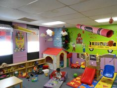 back to school theme, 3d objects from ceiling,  Toddler, preschool daycare classroom.