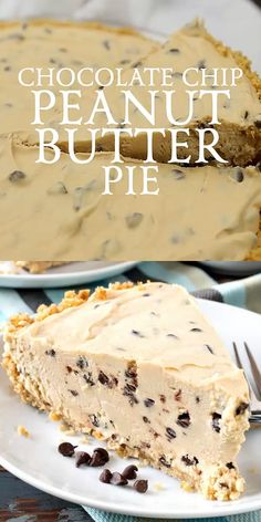 Our Chocolate Chip Peanut Butter Pie has a rich and creamy peanut butter filling with mini chocolate chips throughout. Our Chocolate Chip Peanut Butter Pie has a rich and creamy peanut butter filling with mini chocolate chips throughout. Peanut Butter Filling, Peanut Butter Desserts, Peanut Butter Chocolate Pie, Recipes With Peanut Butter, Peanut Butter Filled Cupcakes, Peanut Butter Pie Recipe No Bake, Gf Cake Recipe, Cheese Pie Recipe, Peanut Cake