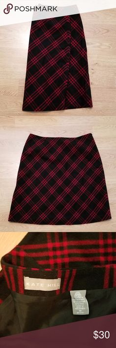 "Kate Hill Lined Wool Red/Black Plaid Skirt, 18 Beautiful virgin wool red/black plaid, lined, knee-length skirt with hidden side zipper.   100% virgin wool; 100% polyester lining.   26"" length, 38"" waist.   Size 18 by Kate Hill. Kate Hill Skirts Midi"