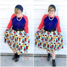 LuLaRoe Randy and Madison with crocheted beanie and Clarks ankle boots ~ LuLaRoe Brittany Crow