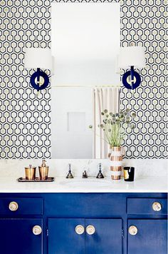 Geometric Wallpaper in Blue Bathroom