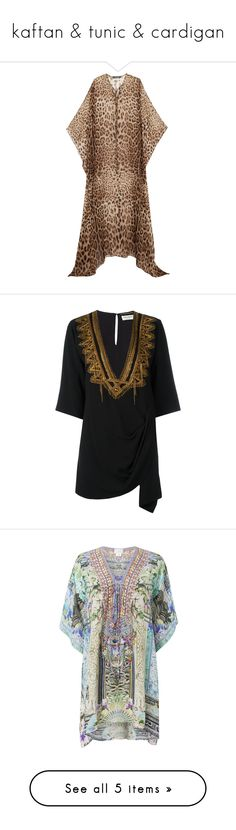 """""""kaftan & tunic & cardigan"""" by tinhinane ❤ liked on Polyvore featuring tops, tunics, leopard print, brown top, leopard print kimono, beach kaftan, loose tunic, leopard print tunic, black and kaftan tunic"""