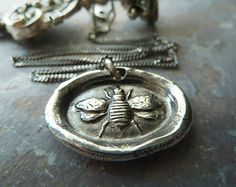 Just Bee Wax Seal Necklace. Antiqued Fine Silver Bee Necklace. Handmade Wax Seal Jewelry on Etsy, $78.00