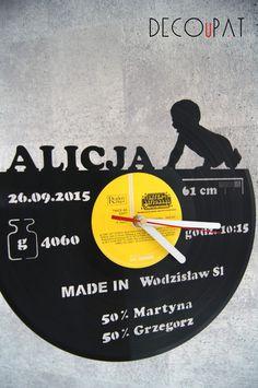 """Zegar+z+płyty+winylowej+""""Baby""""+w+DECOuPAT+na+DaWanda.com"""