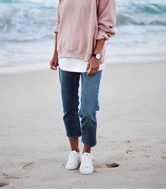 Minimalism. Beautiful @andicsinger wearing THE SEPT. #thesept #sweater #blush