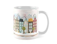 Amsterdam, tazas ciudades,tazas decorativas, tazas ciudades,taza Amsterdam,taza casas,taza viajes, ilustracion casas, casas Amsterdam